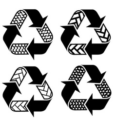 Trace tyre recycle symbols vector