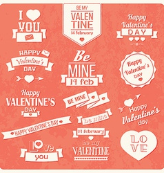 Collection of valentines day vintage labels vector