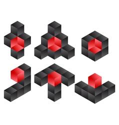 3d cube logo icon design set vector