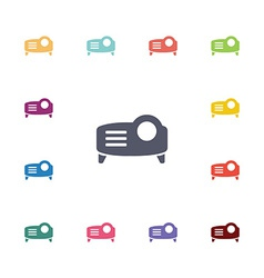 Projector flat icons set vector