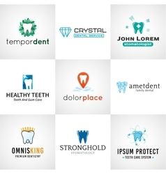 Set of tooth logos oral care symbols collection vector