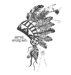 Watercolor american indian chief headdress vector