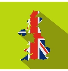 Map of uk of the national flag icon flat style vector