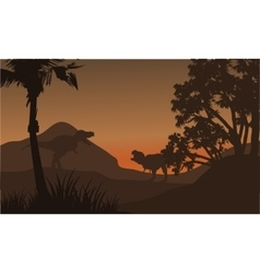 At afternoon tyrannosaurus in hills of silhouette vector