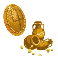 Jugs gold coins and shield with a trident vector