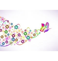 Abstract background with butterfly and flowers vector image