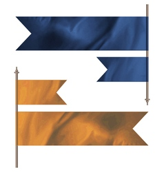 Blue and orange silk flags vector