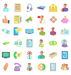 Business operator icons set cartoon style vector