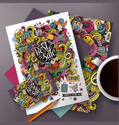 cartoon cute doodles sale corporate identity set vector image vector image
