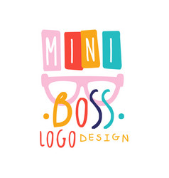 Creative baby mini boss logo design with lettering vector