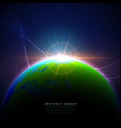 Earth on blue sky in technology digital style vector