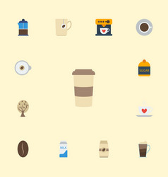 flat icons french press cappuccino arabica bean vector image vector image