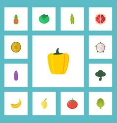 Flat icons pitaya ananas muskmelon and other vector