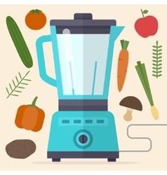 Food processor mixer blender and vegetables vector image