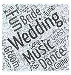 Fun wedding music activities word cloud concept vector