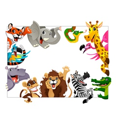 Funny group of jungle animals vector