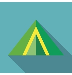 Green tent icon in flat style vector