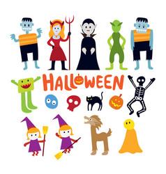 halloween monster characters set vector image vector image