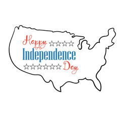happy independence day card silhouette map united vector image