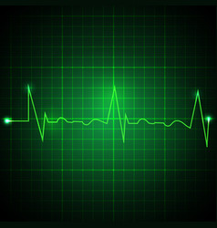 Heart pulse graphic ekg line on green background vector