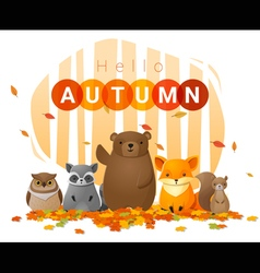 Hello autumn background with wild animals vector