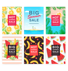Hot big summer sale flyer set collection vector