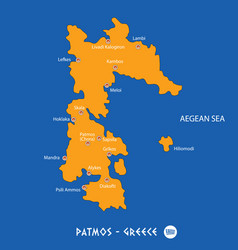 Island of patmos in greece orange map and blue vector