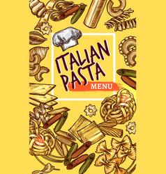 italian pasta sketch poster restaurant menu vector image