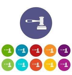 Judge gavel set icons vector image