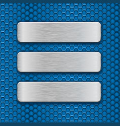 metal rectangle plates on blue perforated vector image