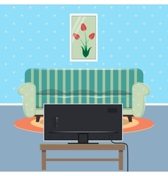 Modern Apartment Interior with Sofa and TV set vector image vector image