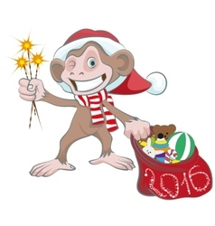 Monkey in Santa hats holding sparkler and bag of vector image