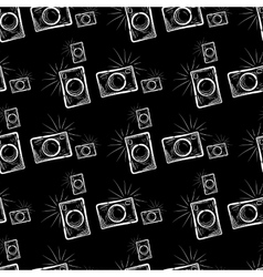 Photo camera on chalkboard background vector