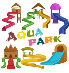 Plastic slides for water park on a white vector image vector image