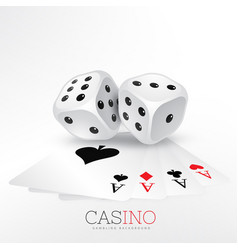 playing cards of casino with two dice vector image