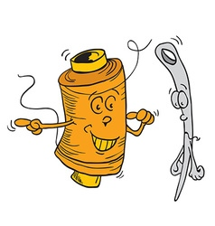 reel and needle cartoon vector image
