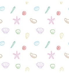 Seamless pattern of sea shells and starfish vector