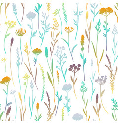 Seamless pattern with color plants vector