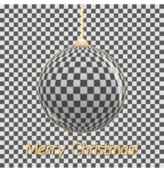 Stylish Christmas card Glass ball on a gray vector image