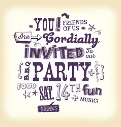 Vintage party invitation poster with hand vector