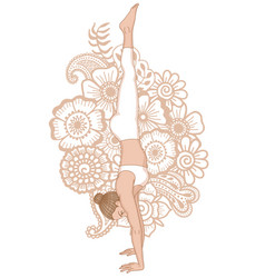 women silhouette headstand yoga pose adho mukha vector image vector image