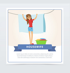Young beautiful woman hanging up laundry out t vector