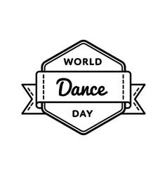 World dance day greeting emblem vector