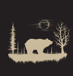 Bear in the strange forest vector
