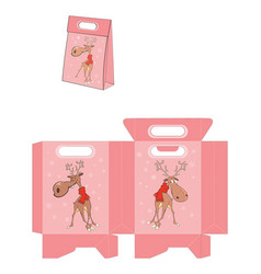 christmas deer handbags packages pattern vector image