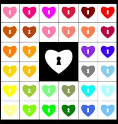 Heart with lock sign  felt-pen 33 colorful vector