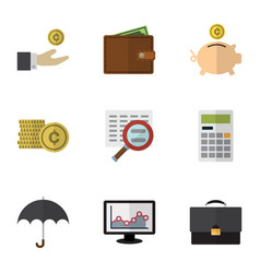 Flat icon incoming set of billfold calculate vector