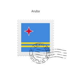 Aruba flag postage stamp vector