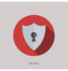 Flat secure icon on sample background vector