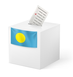Ballot box with voting paper palau vector